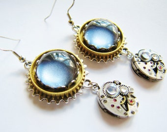 Steampunk Vintage Blue Cabochon Earrings with Vintage Watch Movements, Steampunk Earrings, Steampunk Earrings  ERG80