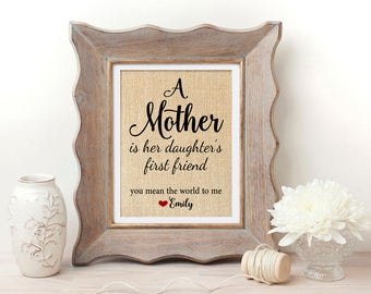 Mother Daughter | Mother Daughter Gift |  Mother of the Bride Gift | A Mother is Her Daughter's First Friend | Mother Day from Daugther