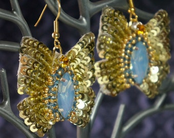 Earrings butterfly-shaped cabochon color blue opal beads sequins