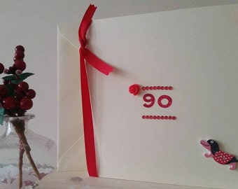 90th Birthday Card 90th Card - Ninetieth Birthday Card - Happy 90th - Grandma 90 Years Old Granddad - Dachshund Card - Handmade Card