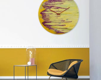 big clock abstract art glass painting abstract painting unique wall light