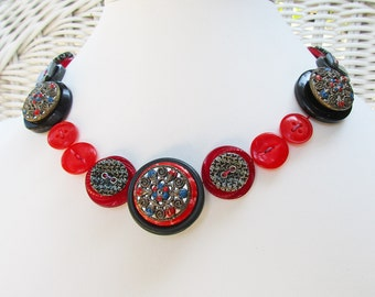 Button Necklace, Red Button Necklace, Cranberry Necklace, Boho Chic Necklace, Red and Gray, Shabby Chic, 1930s Buttons