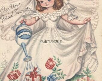 Vintage Bridal Shower Digital Image Download Printable Bride