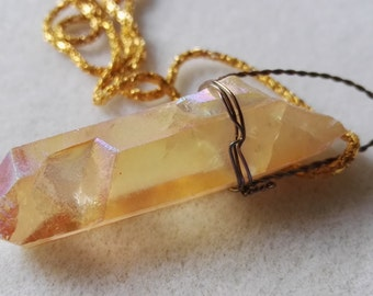 Beautiful Sun Yellow Quartz crystal gemstone wire wrapped gold plated necklace