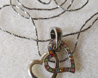Embedded double heart charm necklace valentines day