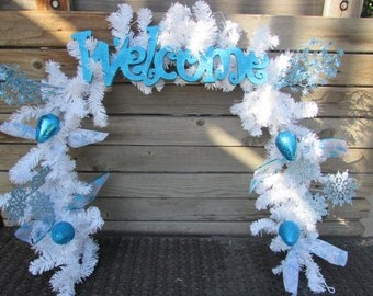 6' Winter Garland Welcome Winter Garland Ornament Garland Snowflake Garland Blue White Garland Snowman Garland Welcome Winter Door Decor