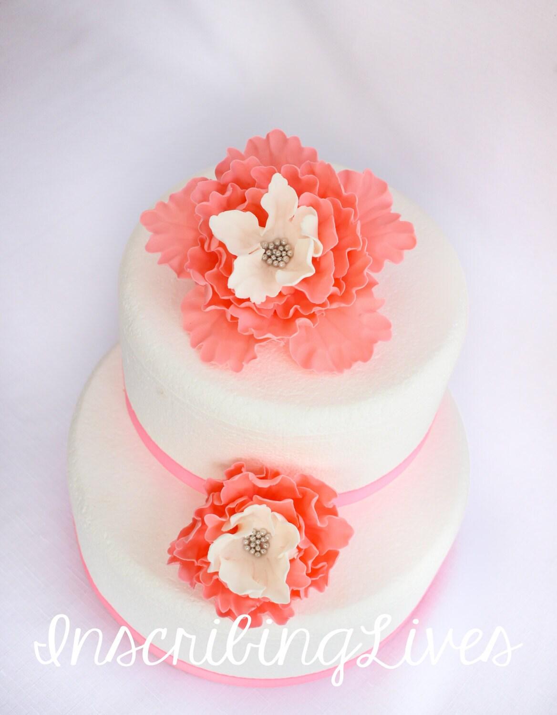 Coral peony fondant flowers wedding cake topper 2pcs coral white coral peony fondant flowers wedding cake topper 2pcs coral white gold edible flower decorations vintage birthday mightylinksfo