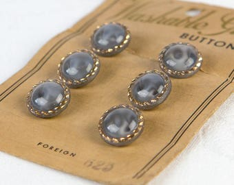 1950's Smokey Blue and Gold - Washable Glass Buttons  - on original card