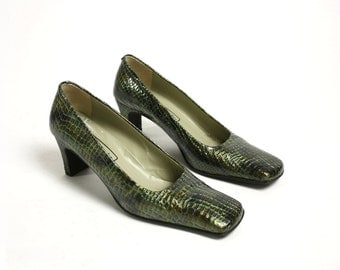 Vintage 80's Green Patent Real Leather Square Toe Narrow Pumps Low Heels - EUR 38/ US 7.5/ UK 5