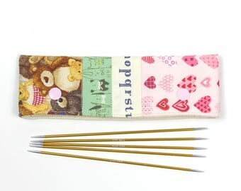 """DPN holder for 6"""" / 15cm needles, patchwork DPN keeper, teddy bear double point knitting needle cozy"""