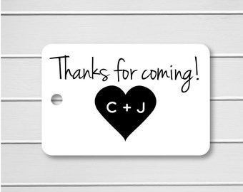 Initial Thank You Tags, Initial Favor Tags, Wedding Favor Tags, Small Wedding Favor Tags (RR-103)