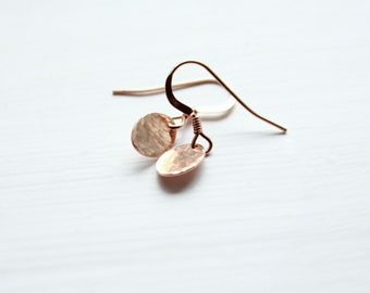 Tiny Rose Gold Earrings Dainty jewelry small drop earrings rose gold jewelry rose gold filled earrings everyday earrings tiny earrings