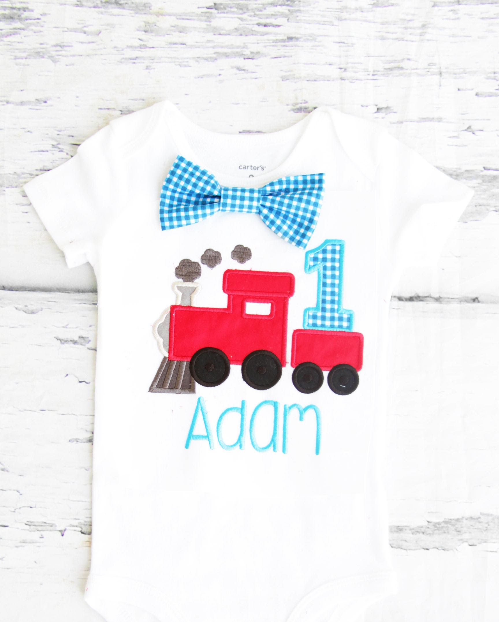 Baby boy first birthday Train themed cake smash outfit boy