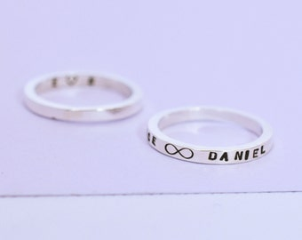 Skinny Message Band // Personalised Thin Ring // Custom Message Skinny Band Ring // Secret Message Ring // Sterling Silver Name Ring