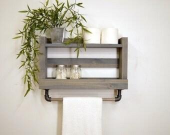 Two Tier Bathroom Shelf with Towel Bar