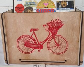 Vinyl Record Storage Crate - Vinyl Storage Solution with Elegant Bicycle Image