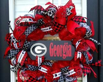 Georgia Door Wreath/Georgia Bulldogs Wreath/Georgia Football Wreath/ Deco Mesh Door Wreath/ Georgia Front Door Wreath