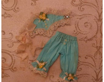 Haute Couture 'Turquoise Dream' Corset & Knickers set for Blythe or similar sized dolls