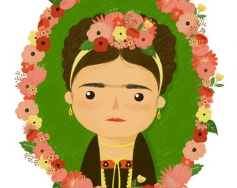 Frida Kahlo Portrait Print - Giclee Art Illustration - Cute Frida Art