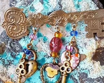 Unique Key Brooch~Brass Key with Brass & Enamel Charms~Vintage Brooch~Key Pin~by JewelsandMetals.
