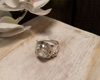 Crystal Quartz Sterling Silver Stone Ring - Handmade Work