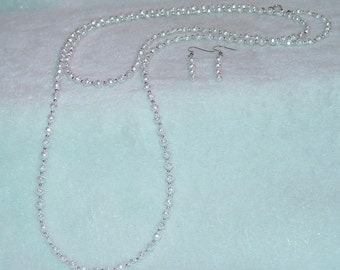 White Glass Pearl Necklace & Earrings Set