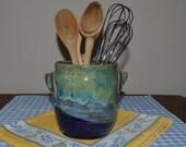 utensil crock glazed in blues and greens, kitchen crock, pottery crock, blue pottery, kitchen pottery, kitchen storage