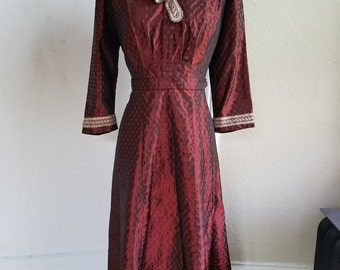 Shimmering Red Taffetta late 1930s dress