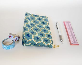 Zipper pencil case, green zipper pouch, perfect gift for student, EpiPen pouch, back to school