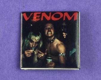 Venom Metal Band Original 1980s Vintage Dead Stock Square Pin