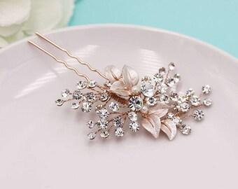 Rose Gold Leaf Hairpin, Swarovski crystal rose gold wedding hair pin, rose gold hair pin, pearl rhinestone hairpin, bridal hairpin 499061462