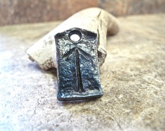Viking Pendant Tyr Tiwaz Celtic Rune -- hand-forged wrought iron hammered steel jewelry, zipper charm keychain or pendant for Christmas