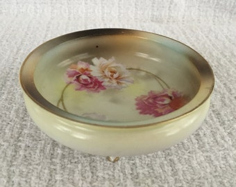 RS Germany Hand Painted Footed Dish, Reinhold Schlegelmil, Rose Pattern,  Porcelain Footed Bowl, Gold Trim, Pin Dish, Trinket Dish