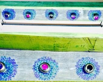 Wall hanging vanity /floating nightstand/ makeup organizer pallet wood shelf girls room decor 5 hand-painted knobs 2 pink hooks bracelet bar