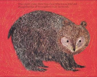 bear 70's mid century red colourful colorful children's illustration retro nursery decor Brian Wildsmith 8.5x11 in