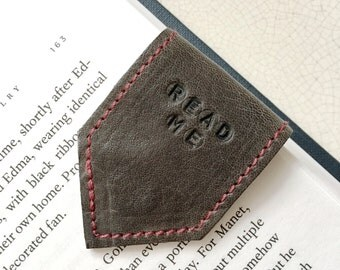 Grey Leather Bookmark | Magnetic Bookmark with burgundy suede lining | Personalise Bookmark | 3rd Year Anniversary Gift | Page Marker