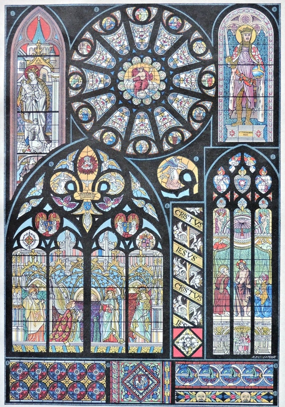 Stained glass print. Art print. Old book plate, 1922. Antique  illustration. 94 years lithograph. 8'1 x 11'4 inches.