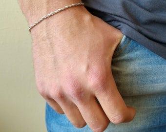Mens Bracelet , Chain Bracelet , Silver Bracelet , Boyfriend Gift , Unisex Bracelet , Bracelet For Men , Bracelet Homme , Couple Bracelet