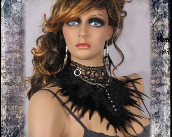 BLACK FEATHER NECKLACE Gothic Choker Necklace Black Lace Rhinestone buttons Venice Lace Gothic Bridal Choker by SweetDarknessDesigns