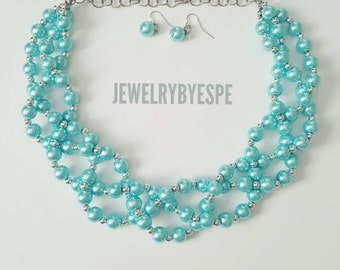 Bridal Turquoise Necklace Pearl Necklace Statement Necklace Silver, Chunky, Bib, Turquoise Wedding Jewelry Multi Strand Necklace