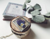 Pansy necklace - Real purple pansy necklace - Real viola flower pendant - Purple botanical necklace Lavender