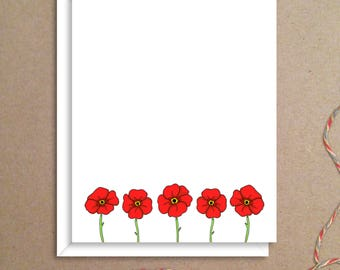 Flat Note Cards - Poppy Note Cards - Floral Thank You Cards- Personalized Floral Stationery - Floral Note Cards