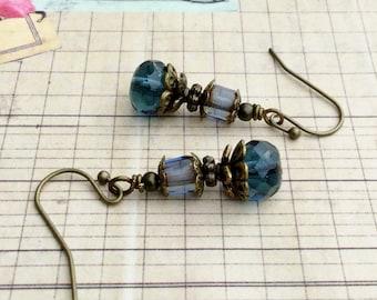 Blue Earrings, Dark Blue Earrings, Victorian Earrings,Czech Glass Beads,Antique Gold Earrings, Unique Earrings,Womens Earrings,Gifts for Her