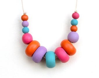 Bright & Brilliant - Rainbow, Multi Colour, Wooden Beaded Necklace