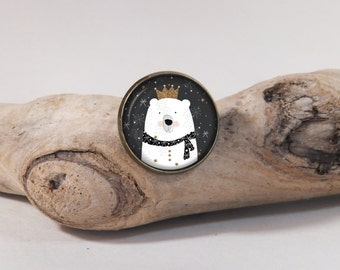 Pin King Bear 20mm diam. Glass dome on pin