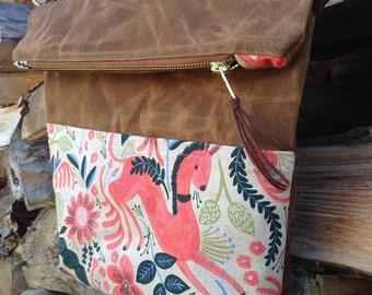 Waxed Canvas Foldover Crossbody Bag / Handmade Crossbody Purse with Strap / Tobacco Waxed Canvas, Folk Horse Canvas Linen