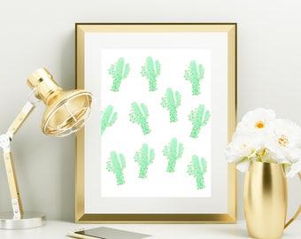 """Gold Foil Watercolor Print """"Cactus"""" - Gold Foil - Gold Office Home Decor - Decor - Watercolor Art Print - Art Print - Cactus Print"""