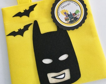 Set of 12 Lego Batman Favor Bags with Personalized Thank You Tags, Lego Batman Party, Lego Batman Party Bags, Lego Batman Birthday, Batman.