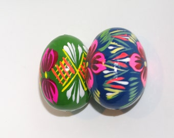 Polish Easter Eggs Pysanky Hand painted decorative egg Pysanka Decor Set of 2 blue green floral flowers Polish Folk Art Polish Solid Wood