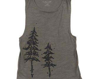 Pine Trees Ladies Muscle Tank